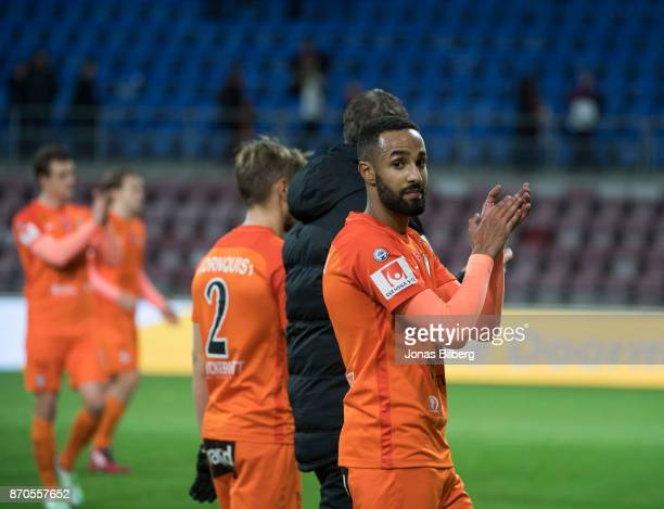 Ferid Ali of Athletic FC Eskilstuna cheers to the fans during the Allsvenskan match between Athletic FC Eskilstuna and IK Sirius FK at Tunavallen on...