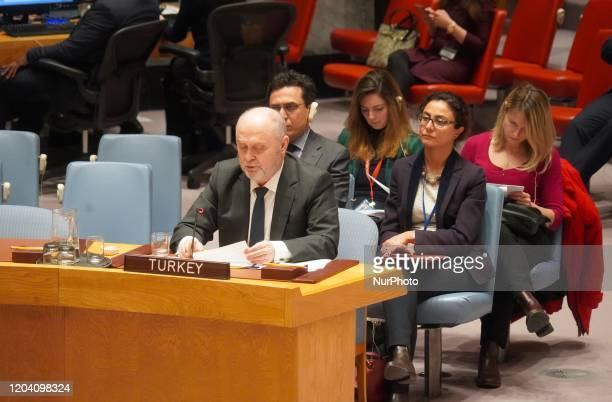 Feridun Sinirlioglu the Permanent Representative of Turkey to the UN attends the UN Security Council's emergence meeting on the situation in Syria on...