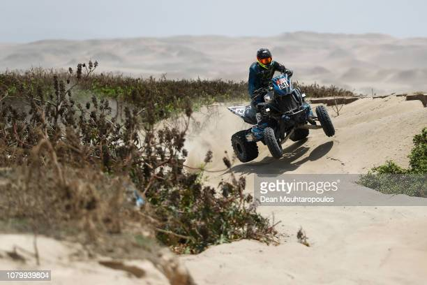 Ferioli Racing Team Yamaha Raptor 700 No. 241 Quadbike ridden by Jeremias Gonzalez Ferioli of Argentina competes in the near the beach during Stage...