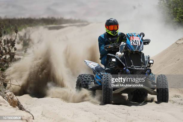 Ferioli Racing Team Yamaha Raptor 700 No 241 Quadbike ridden by Jeremias Gonzalez Ferioli of Argentina competes in the near the beach during Stage...