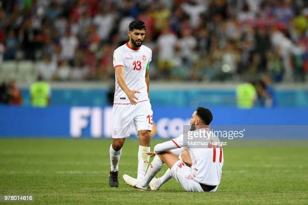 Ferjani Sassi and Dylan Bronn of Tunisia show their dejection following the 2018 FIFA World Cup Russia group G match between Tunisia and England at...