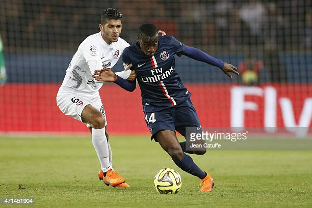 Ferjani Sassi of Metz and Blaise Matuidi of PSG in action during the French Ligue 1 match between Paris SaintGermain and FC Metz at Parc des Princes...