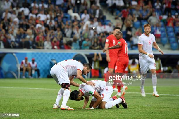 Ferjani Sassi of Tunisia celebrates after scoring his team's first goal from a penalty with team mate Ali Maaloul during the 2018 FIFA World Cup...