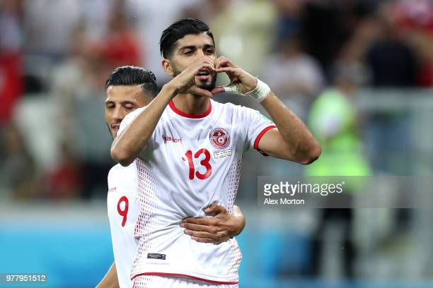 Ferjani Sassi of Tunisia celebrates after scoring his team's first goal during the 2018 FIFA World Cup Russia group G match between Tunisia and...
