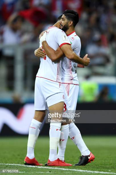 Ferjani Sassi of Tunisia celebrates with team mate Yassine Meriah after scoring his team's first goal during the 2018 FIFA World Cup Russia group G...