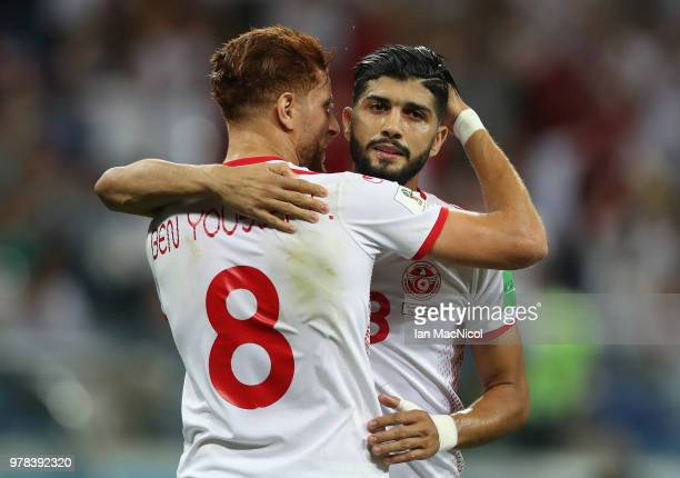 Ferjani Sassi of Tunisia is congratulated by Fakhreddine Ben Youssef of Tunisia after he scores a penalty during the 2018 FIFA World Cup Russia group...