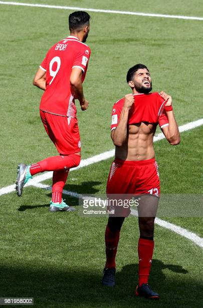 Ferjani Sassi of Tunisia reacts after missing a chance during the 2018 FIFA World Cup Russia group G match between Belgium and Tunisia at Spartak...
