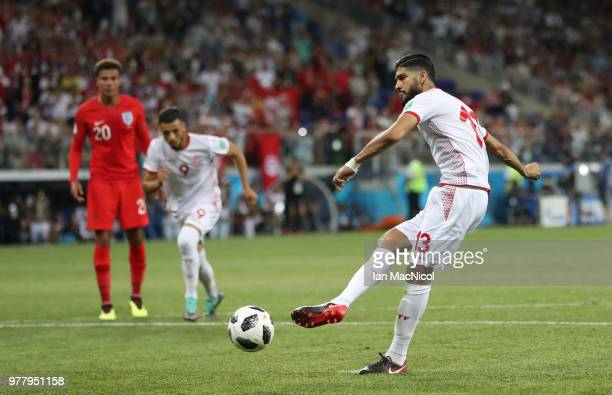 Ferjani Sassi of Tunisia scores a penalty during the 2018 FIFA World Cup Russia group G match between Tunisia and England at Volgograd Arena on June...