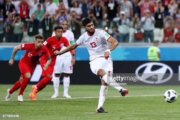 Ferjani Sassi of Tunisia scores a penalty for his team's first goal during the 2018 FIFA World Cup Russia group G match between Tunisia and England...