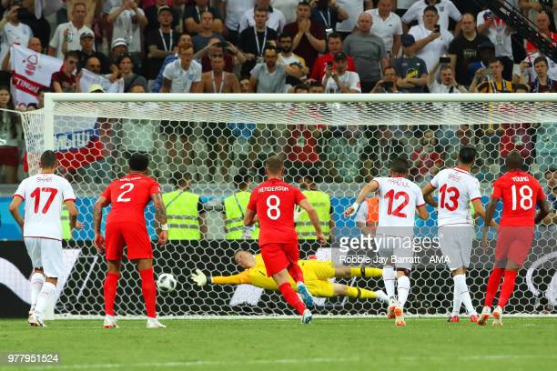 Ferjani Sassi of Tunisia scores a penalty to make it 11 during the 2018 FIFA World Cup Russia group G match between Tunisia and England at Volgograd...