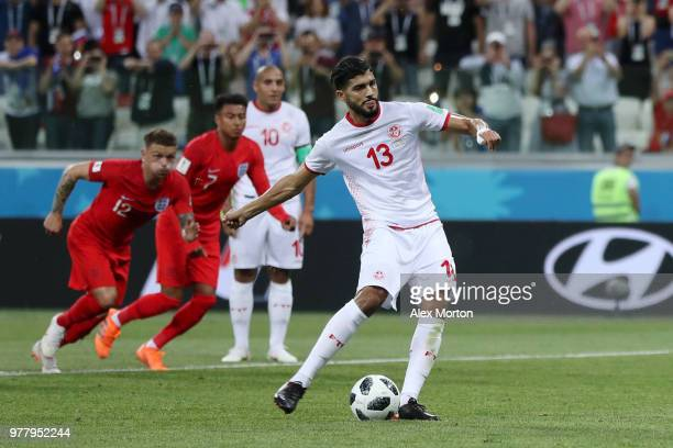 Ferjani Sassi of Tunisia shoots and scores a penalty to make the score 11 during the 2018 FIFA World Cup Russia group G match between Tunisia and...