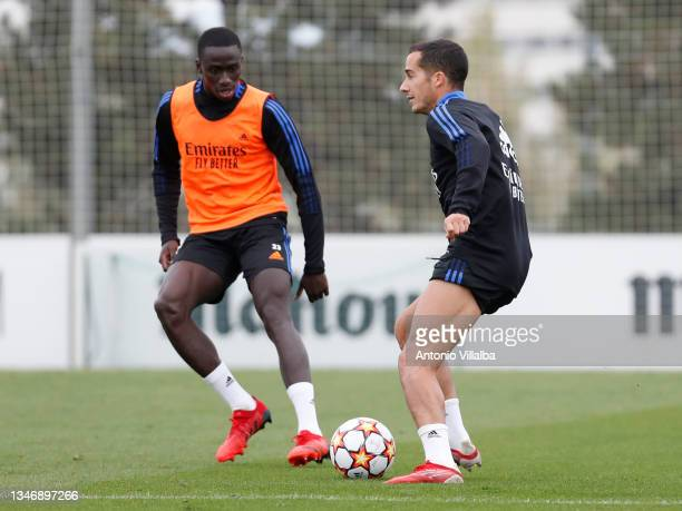 Ferland Mendy and Lucas Vázquez of Real Madrid are training at Valdebebas training ground on October 16, 2021 in Madrid, Spain.