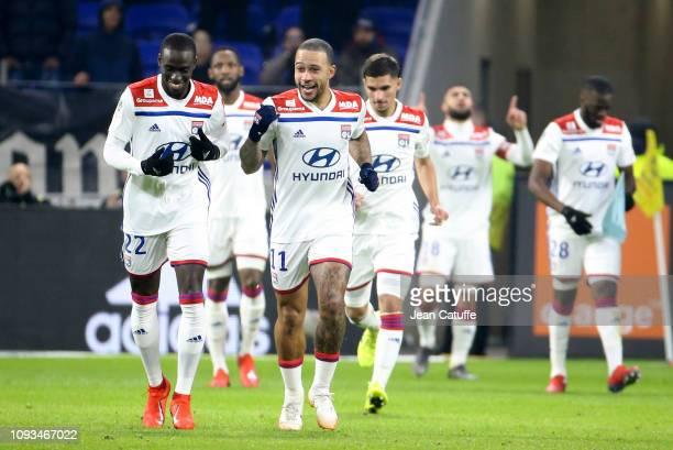 Ferland Mendy Memphis Depay of Lyon celebrates the goal of Nabil Fekir of Lyon during the french Ligue 1 match between Olympique Lyonnais and Paris...