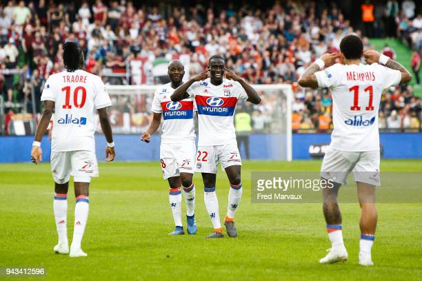Ferland Mendy of Lyon and Memphis Depay of Lyon celebrates scoring his goal during the Ligue 1 match between Metz and Olympique Lyonnais at on April...