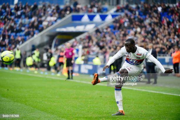 Ferland Mendy of Lyon during the Ligue 1 match between Lyon and Amiens at Parc Olympique on April 14 2018 in Lyon