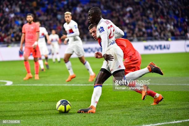 Ferland Mendy of Lyon during the Ligue 1 match between Olympique Lyonnais and SM Caen at Parc Olympique on March 11 2018 in Lyon