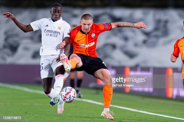 Ferland Mendy of Real Madrid and Viktor Korniienko of FC Shakhtar Donetsk battle for the ball during the UEFA Champions League Group B stage match...