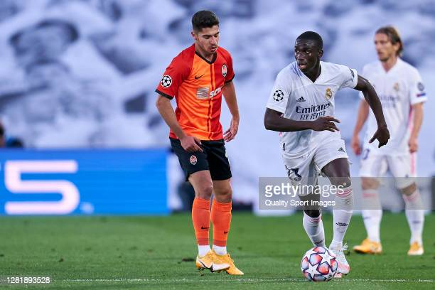 Ferland Mendy of Real Madrid battle for the ball with Manor Solomon of Shakhtar Donetsk during the UEFA Champions League Group B stage match between...