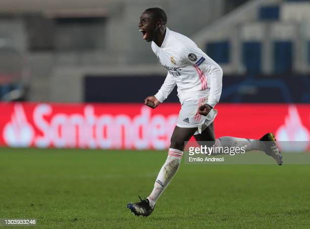 Ferland Mendy of Real Madrid celebrates after scoring the opening goal during the UEFA Champions League Round of 16 match between Atalanta and Real...