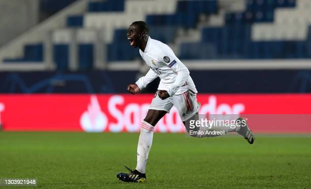 Ferland Mendy of Real Madrid celebrates after scoring their side's first goal during the UEFA Champions League Round of 16 match between Atalanta and...