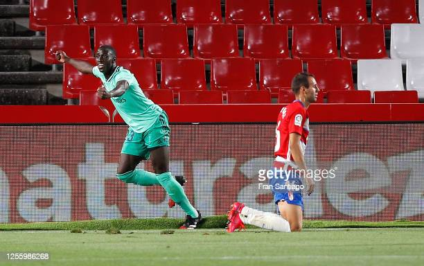 Ferland Mendy of Real Madrid celebrates scoring the opening goal during the Liga match between Granada CF and Real Madrid CF at on July 13, 2020 in...