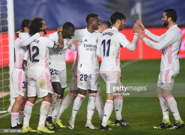 Ferland Mendy of Real Madrid celebrates with Marcelo, Vinicius Junior, Marco Asensio and Nacho after scoring their team's second goal during the La...