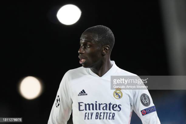 Ferland Mendy of Real Madrid CF reacts during the UEFA Champions League Quarter Final match between Real Madrid and Liverpool FC at Estadio Alfredo...