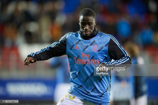 Ferland Mendy of Real Madrid during the warmup before the Liga match between SD Eibar SAD and Real Madrid CF at Ipurua Municipal Stadium on November...