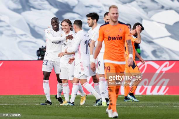 Ferland Mendy of Real Madrid, Luka Modric of Real Madrid, Lucas Vazquez of Real Madrid, Marco Asensio of Real Madrid celebrates a cancelled goal...