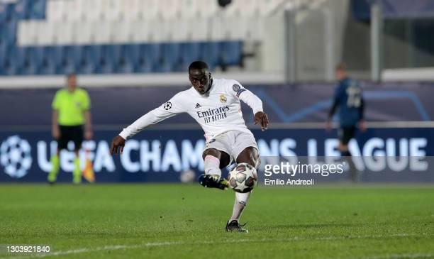 Ferland Mendy of Real Madrid scores their side's first goal during the UEFA Champions League Round of 16 match between Atalanta and Real Madrid at...
