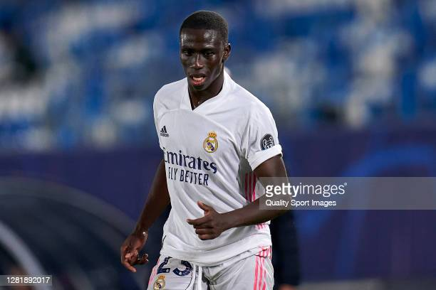 Ferland Mendy of Real Madridlooks on during the UEFA Champions League Group B stage match between Real Madrid and Shakhtar Donetsk at Estadio Alfredo...