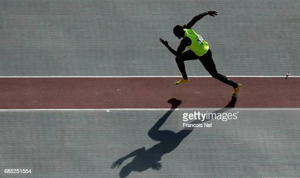 Ferman Djoumessi of Cameroon competes in the Mens Long Jump Final during day eight of Baku 2017 4th Islamic Solidarity Games at the Baku Olympic...