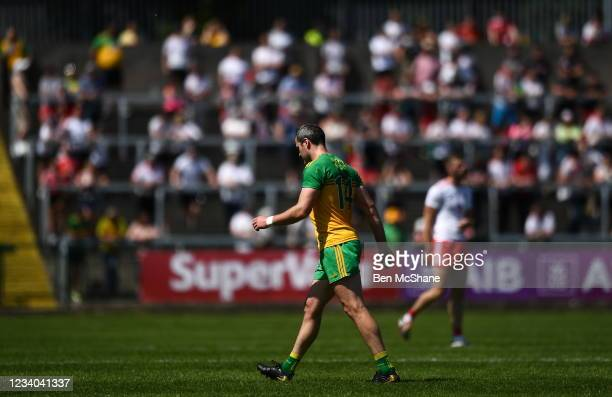 Fermanagh , United Kingdom - 18 July 2021; Michael Murphy of Donegal makes his way off the pitch after being sent off during the Ulster GAA Football...