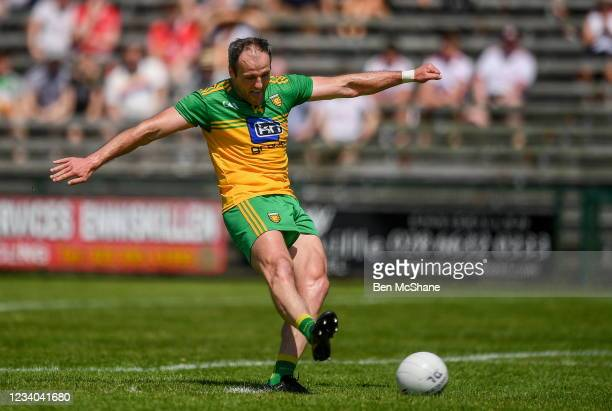 Fermanagh , United Kingdom - 18 July 2021; Michael Murphy of Donegal takes a penalty, which subsequently hit the post, during the Ulster GAA Football...