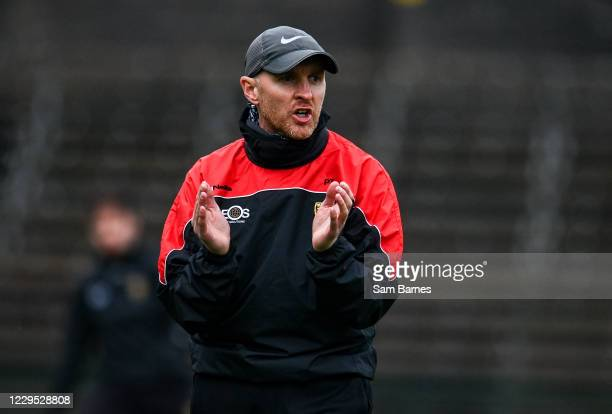 Fermanagh , United Kingdom - 8 November 2020; Down manager Paddy Tally ahead of the Ulster GAA Football Senior Championship Quarter-Final match...