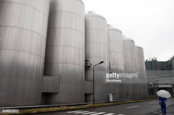 Fermentation tanks stands at the Asahi Kanagawa Brewery operated by Asahi Breweries Ltd a unit of Asahi Group Holdings Ltd in Minamiashigara Kanagawa...