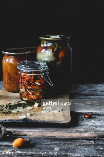 fermented preserved vegetables food concept - キムチ ストックフォトと画像