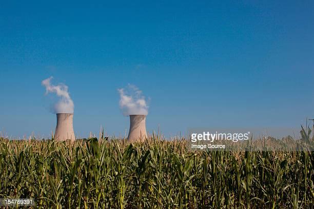 "Fermi 2"""" beyond a corn field, Enrico Fermi Nuclear Generating Station, Monroe, Michigan, USA"