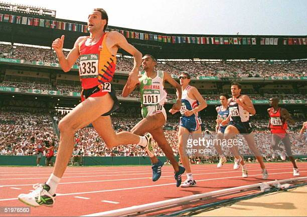 Fermin Cacho of Spain leads the pack as he runs to win heat heat 5 of the Olympic men's 1500m event 29 July He won the heat in a time of 33984...