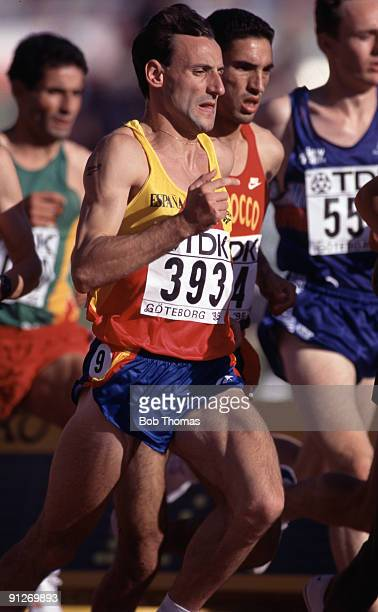 Fermin Cacho of Spain running in the men's 1500m event at the 5th World Athletics Championships held in Gothenburg Sweden August 1995