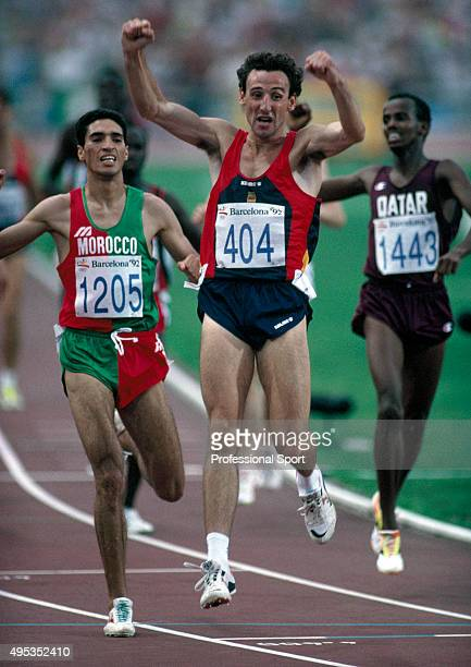 Fermin Cacho of Spain wins the gold medal in the men's 1500 metres event during the Summer Olympic Games in Barcelona Spain circa 1992