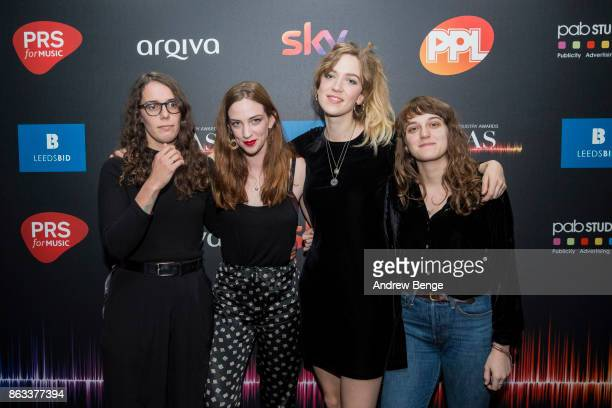 Fern Ford, Celia Archer, Juliette Jackson and Soph Nathan of The Big Moon attend the Audio & Radio Industry Awards at First Direct Arena Leeds on...