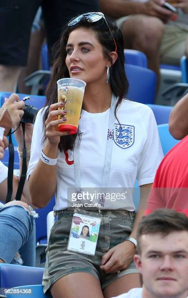 Fern Hawkins girlfriend of Harry Maguire of England attends the 2018 FIFA World Cup Russia group G match between England and Panama at Nizhniy...