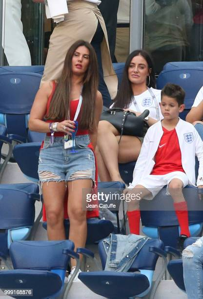 Fern Hawkins girlfriend of Harry Maguire Rebekah Vardy wife of Jamie Vardy of England during the 2018 FIFA World Cup Russia Third Place match between...