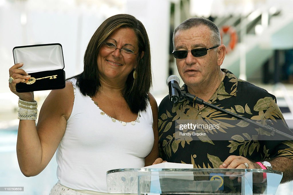 Fern Mallis and Louis Garcia, Vice Mayor of Miami during Sunglass Hut Swim Shows Miami Presented by LYCRA - Welcome Reception at Raleigh Hotel in Miami Beach, Florida, United States.