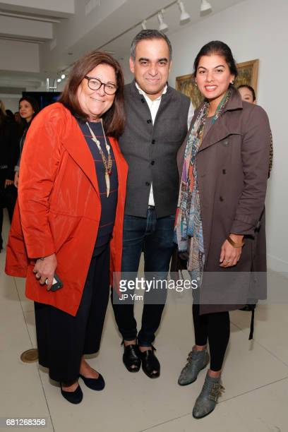 Fern Mallis Bibhu Mohapatra and guest attend 'A Magic Bus Cocktail Party' at DAG Modern on May 9 2017 in New York City