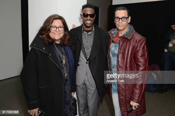 Fern Mallis Elliot Carlyle and James Aguiar attend Tanya Taylor presentation during New York Fashion Week The Shows at Gallery II at Spring Studios...