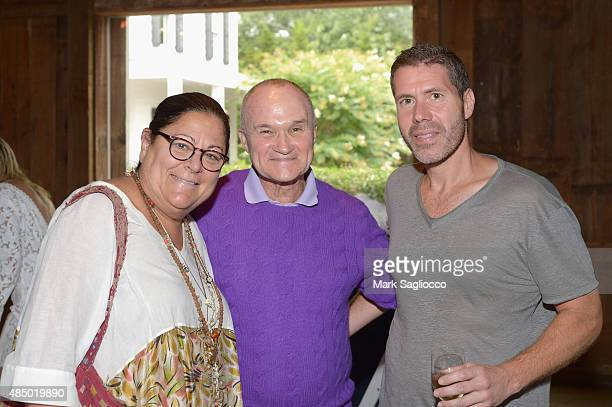 Fern Mallis former NYC police commissioner Ray Kelly and director at Avo Construction Rocco Basile attend DuJour's Jason Binn Hamptons brunch...