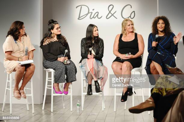 Fern Mallis Nadia Boujarwah Stacy London Emme Aronson and Marquita Pring speak onstage during the DiaCo fashion show and industry panel at the...