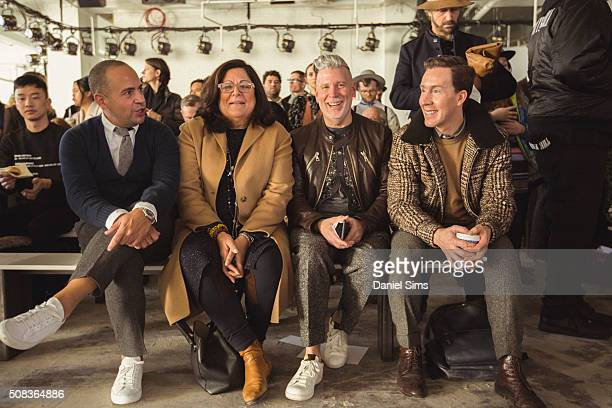Fern Mallis, Nick Wooster and Eric Jennings sit in the front row during the Duckie Brown show during New York Fashion Week Men's Fall/Winter 2016 at...